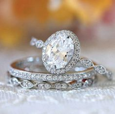 Wedding Rings Sets Gold, Diamond Wedding Rings, Bridal Rings, Diamond Rings, Oval Halo Engagement Ring, Engagement Ring Settings, Vintage Style Rings, Eternity Ring, Or Rose