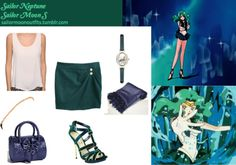 ** Im just gunna publish one set for Neptune, I figured since Im following the anime and not the manga/cosplays, I need to be as true to the anime as I can, enjoy :) ** Deb  Dave accessories barrel bag in Navy Forever 21 exposed zipper top in Cream ASOS watch with etched peacock design in Green Hand beaded pashmina scarf in Midnight Navy Bakers Rachel heel in Blue Tokyo Fashion button-detail pleated skirt in Teal Forever 21 pearlescent  seed bead headband