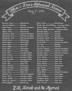 Chalkboard Style Seating Chart  Wedding seating chart  Rehearsal dinner seating chart