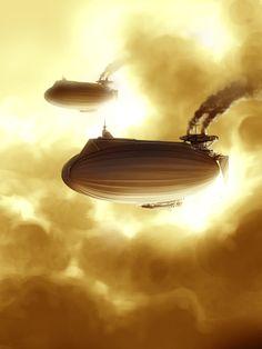 Steam-powered airships. #steampunk #steampunkart #airship http://www.pinterest.com/TheHitman14/artwork-steampunked/