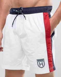 Tommy Hilfiger Swimshorts in White With Side Stripe Track Pants Mens, Mens Jogger Pants, Sports Trousers, Joggers, Sweatpants, Baggy Shorts, New T Shirt Design, Boys Clothes Style, Mens Designer Shirts