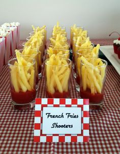 French Fries Shooters This could be a fun idea we could make it work for brunch and we are doing a 50's themed diner right after the wedding