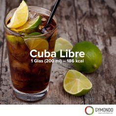 """#Cuba #Libre steht für """"freies Kuba"""" und entstand 1900 in Kuba. Mehr zum Thema #Alkohol und #Kalorien erfährst Du hier: http://magazin.gymondo.de/m/warum-macht-alkohol-dick"""
