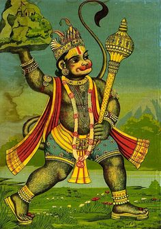 magictransistor:  हनुमान् [Hanuman]; fetching the herb-bearing mountain, Ravi Varma Press, India, 1909.