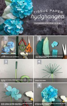 #TissueFlowerHydrangeas #TissueFlowers #TissuePapercrafts #diyflowers #PaperFlowers http://www.LiaGriffith.com