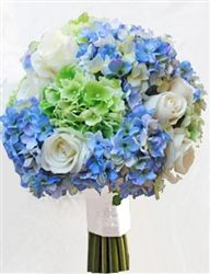 Bouquet of Hydrangeas and Roses in a Green and Royal or Light Blue Mix