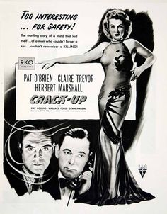 1946 Ad Crack Up RKO Pictures Movie Film Noir Claire Trevor Pat O'Brien YLK1