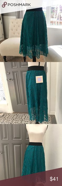 LuLaRoe Skirt LOLA NEW Lace Skirt Women's Teal XXS 2️⃣0️⃣ 092017 ⭐️️XXS but runs bigger elastic waist could fit a small even. Lace with lining  ⭐️️brand new with tags  ⭐️️color is a little lighter than what pics show  ⭐️🚫trades, holds or modeling please LuLaRoe Skirts Midi