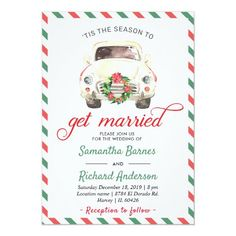 Christmas Holiday Winter Red Green Travel Wedding Invitation