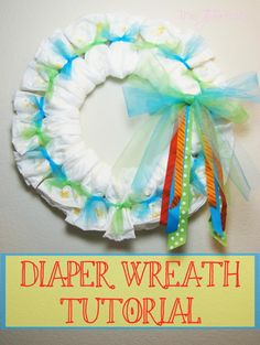 Need a great shower gift? Try this easy Baby Diapers Wreath Tutorial. You'll have a great gift made in 20 minutes, and the diapers can still be used!