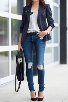 30 outfits that prove pinstripes are back - distressed skinny jeans, classic black pointy-toe heels + gray t-shirt and pinstripe blazer