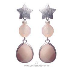 Flamingo earrings ⭐️ peach color gemstones