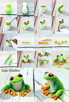 Tree Frog Tutorial by Cake Dutchess. Another fabulous picture tutorial!Green Tree Frog Tutorial by Cake Dutchess. Another fabulous picture tutorial! Cake Dutchess, Polymer Clay Animals, Polymer Clay Art, Polymer Clay Projects, Polymer Clay Creations, Diy Clay, Decors Pate A Sucre, Frog Cakes, Cupcakes Decorados