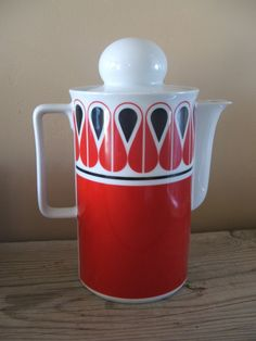 Mid Century Modern Graphic Pattern Coffee or Tea Service for Four. Schirnding, Bavaria. Made in West Germany.