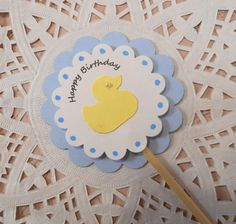12 Blue and White Cupcake Toppers with Yellow Duck, Happy Birthday, Birthday Party Picks, Baby Boy  Birthday, Baby Duck Toppers by angelsofheaven. Explore more products on http://angelsofheaven.etsy.com