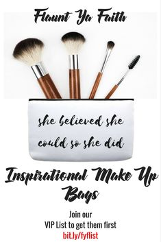 Coming soon! Inspirational Make-Up Bags Join our VIP List to be the first to know when they arrive.
