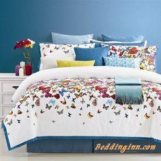 #beautiful #cotton #butterflies Flying Butterflies Print 4-Piece Cotton Duvet Cover Sets  Live a better life, start with @beddinginn http://www.beddinginn.com/product/Amazing-Bright-Red-Galaxy-Print-4-Piece-Duvet-Cover-Sets-11001056.html