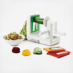 OXO's Spiralizer is perfect for creating vegetable noodles which are a tasty, healthy alternative to pasta. Make quick work of creating uniform spirals from fruits and vegetables for curly fries, salads, garnishes and more. It's faster and safer than a knife, with a fun and unique end result. Features: Three stainless steel blades create spaghetti cut (1/8 inch), fettuccine cut (1/4 inch), or ribbon cut noodles Removable blade box keeps blades clean, safe and organized when not in use and…
