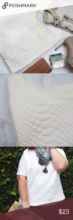 Ivory Quilted Front Top Size XXL short sleeved top with a quilted front. NWT. 08241608 Old Navy Tops