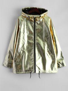 Jackets | Golden Raglan Sleeve Metallic Hooded Jacket - Gamiss