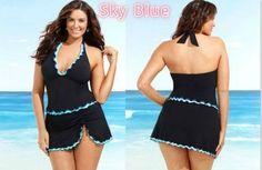 Halter Swimwear Dress Women Push Up Set Swimsuit Skirt Beachwear Swimwear Bathing Suit Tankini Plus Size