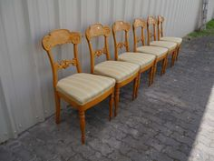 6 Biedermeier Stühle - Birke massiv - furniert Dining Chairs, Furniture, Ebay, Home Decor, Birch, Dinner Chairs, Homemade Home Decor, Dining Chair, Home Furnishings