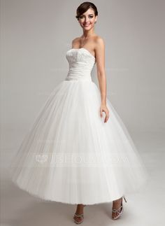 Ball-Gown Sweetheart Ankle-Length Chiffon Tulle Wedding Dress With Ruffle Lace (002017565) - JJsHouse