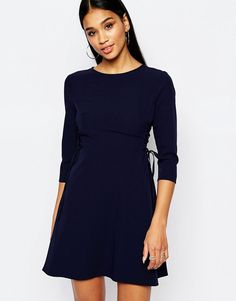 Image 1 ofLipsy Skater Dress With Lace Up Side Detail