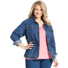 Layer your favorite looks with Charter Club's plus size denim jacket- it's a must-have classic! (Clearance) Antique Indigo. Cotton/polyester/spandex.