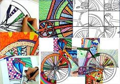 from www.arteascuola.com20 details of a bicycle, in pdf file, ready to be colored, with texture, zentangle or solid colors. After you ended the decoration of the details, the worksheets can be assembled together to form a big bicycle. This is a teamwork suitable for all grades of school, which puts