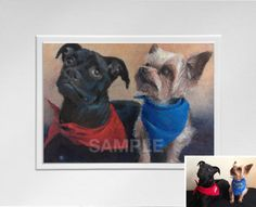 8 x 10 Custom Pet Portrait (2 Pets) from Your Photo, Oil Pastel on Paper