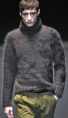 Gucci FW 13/14 menswear...gray knit turtle neck with branches and bird design. www.designerclothingfans.com