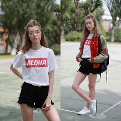 Get this look: http://lb.nu/look/8737493  More looks by Alba Granda: http://lb.nu/sweetblondiescloset  Items in this look:  Aloha Juice White T Shirt, Sammydress Black Shorts, Primark Bagpack, White Converse   #retro #sporty #vintage #red #black #white #beige #brown #baseball