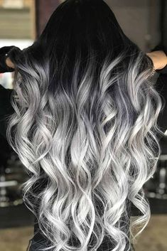 Black to Grey to Silver Ombre Hair me for Cute Silver Inspiration!Black to Grey to Silver Ombre Hair Black to Grey to Silver Ombre Hair me for Cute Silver Inspiration!Black to Grey to Silver Ombre Hair Ombre Hair Color, Cool Hair Color, Silver Ombre Hair, Black To Grey Ombre Hair, Gray Ombre, Hair Color Black, Long Silver Hair, Black Roots Blonde Hair, Dyed Hair Ombre