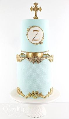 A post from Two tier cake for Zachariah's christening featuring decorative gold trim and hand painted monogram. Torta Angel, Christening Cake Boy, Christening Cakes, Metallic Cake, Religious Cakes, Confirmation Cakes, Royal Cakes, Carousel Cake, First Communion Cakes