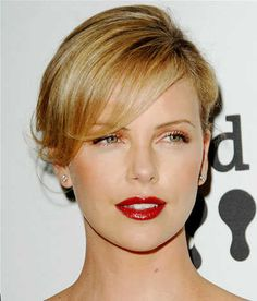 charlize theron blonde updo hairstyle with side bangs Charlize Theron Short Hairstyles 2014 Side Bangs Hairstyles, Trendy Hairstyles, Wedding Hairstyles, Updo Hairstyle, Bang Hairstyles, Hair Bangs, Homecoming Hairstyles, Party Hairstyles, Hair Styles 2014