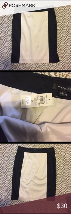 """NWT Ann Taylor Black and Nude Colorblock Skirt 22"""" Long. Brand New with tags....* Please note, I do my best to inspect and go into detail to my best ability on each item, please ask any and all questions before purchasing Ann Taylor Skirts"""