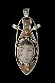 Halibut Woman III Pendant (with removable face pin) (2008)  by Denise Wallace