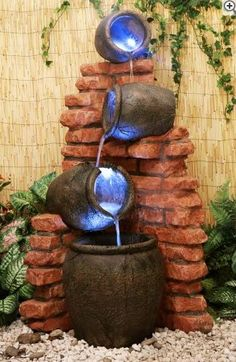 Regal 4-Tier Oil Jar Water Feature with Lights