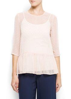 Mango Women's Plumeti Peplum Blouse - Rosita4, Soft Pink, Xs MANGO. $24.99. Save 50% Off!