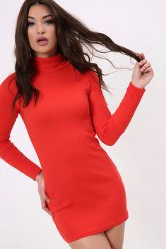 f1160082fa17 Red Rib Turtle Neck Mini Dress