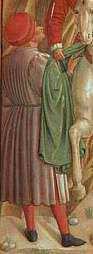 Benozzo Gozzoli, St. Francis Giving Away His Clothes,  Detail, 1452. Florentine school; fresco in Montefalco