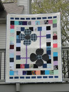 Memorial Quilt made from parent's clothes. Great idea for those who have lost a loved one.