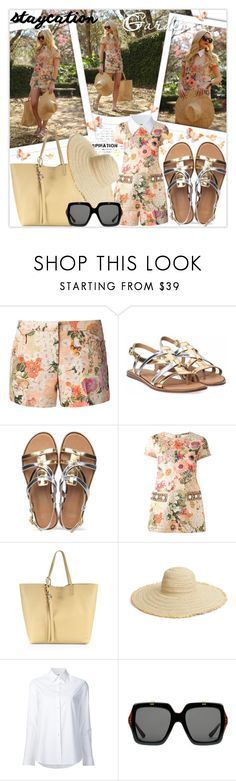 """Rest Up: Staycation"" by lucky-ruby ❤ liked on Polyvore featuring Tory Burch, UGG Australia, Alexander McQueen, Caslon, Misha Nonoo, Gucci and staycation"