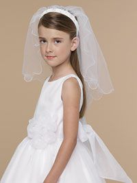 Flower Girl Dresses -Us Angels Headband with Attached Veil- Style V-70