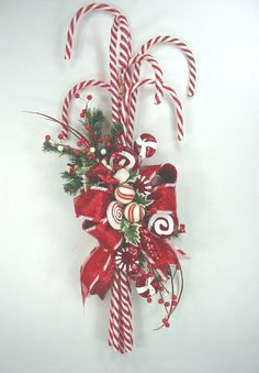 Cute Candy Cane Swag Christmas Wreath by Ed The Wreath Guy #EdTheWreathGuy