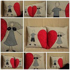 heart quilts pillow case idea