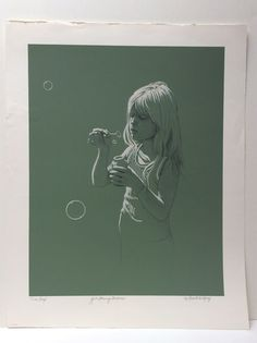 Robert Vickrey GIRL BLOWING BUBBLES Signed Lmtd Edition Trial Proof  Lithograph #Realism