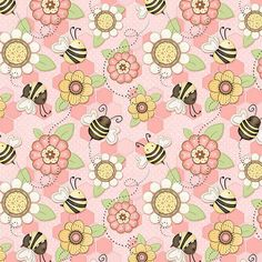 Let it Bee Pink Floral  Henry Glass Fabric  Fat by BywaterFabric
