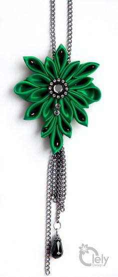 Green fabric necklace with rhinestone kanzashi by OlelyDesign